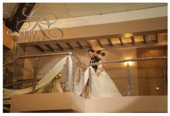 The balcony from the bridal lounge leading to the staircase