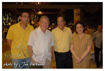 Then City Mayor Sonny Belmonte, then Senator Noynoy Aquino and ex-President Corazon Aquino